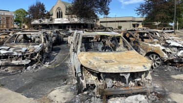 Burnt out cars following riots in Kenosha, Wisconsin.