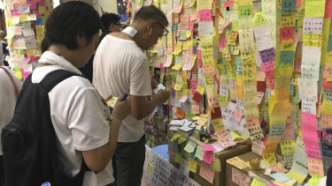 The Lennon Wall made up of protest Post-It notes in support of Hong Kong's democracy movement.