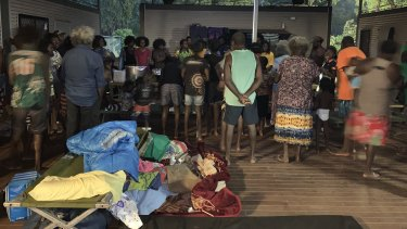People at a makeshift camp established by the Kapani Warrior group about 80km outside the town of Aurukun.