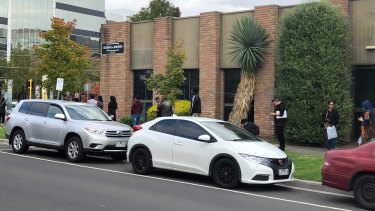 The snaking queue outside the Centrelink office in Dandenong on Wednesday afternoon.