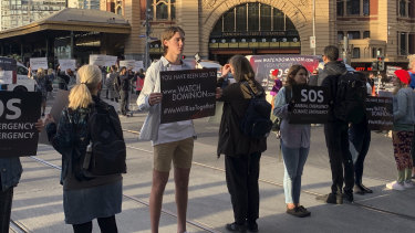 Vegan protesters in Melbourne earlier this year.