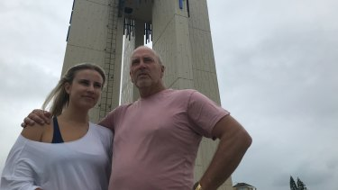 Coolangatta trader Steve Archdeacon and daughter Ali at Point Danger said many businesses will not get benefits from the payroll tax waiver while staff are not working.
