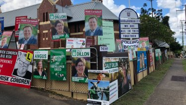 Voters and volunteers were few and far between at an East Brisbane polling site for the Queensland local government election on March 28.