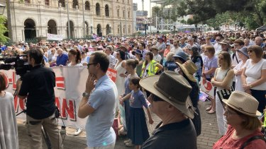 The March For Life rally outside Queensland Parliament on Saturday afternoon.
