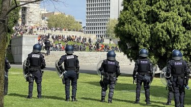 Riot police on standby at the Shrine of Remembrance.