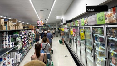 The queue at Woolworths in Paddington on Friday morning.