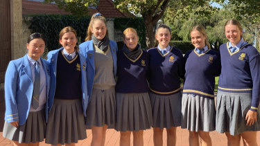 St Hilda's Year 12 Boarding Officials Helen Li (China), Ruby Stammers (Carnarvon), Lilli Scott (Margaret River), Samara Evans (Corrigin), Head Boarder Maddi Wray (Broomehill East), Sarah Latham (Narembeen) and Hayley Cooke (Koorda).