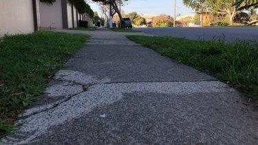 Cracks in a footpath along Thynne Road in Morningside.
