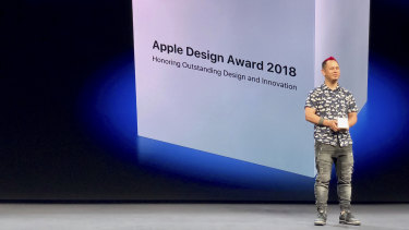 Ken Wong accepts the Apple Design Award at WWDC.
