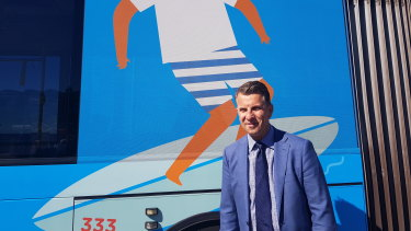 NSW Transport Minister Andrew Constance announces a rapid route service between Bondi Beach and the city centre on Monday.