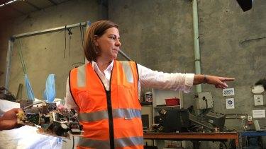 LNP leader Deb Frecklington on the hustings in Brisbane on Monday.
