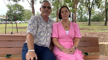 Hannah's parents Sue and Lloyd Clarke at Hannah's Place - a park renamed in her honour - in Camp Hill on Thursday.