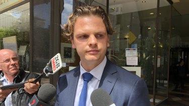 Joshua Wilson speaks to reporters outside court in Sydney on Wednesday.
