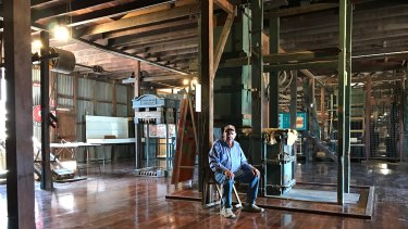 Tour operator Bob Willow inside Blackall's wool scour. 'If this closed it would be a tragedy for outback tourism.'