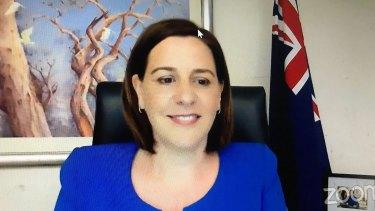 Opposition leader Deb Frecklington participates in the online debate.