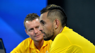 Lleyton Hewitt believes Nick Kyrgios' good behaviour has aided his good form to start the summer.