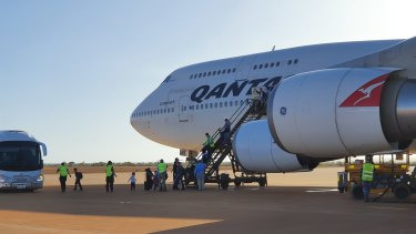 The first plane to Christmas Island left on Tuesday morning.