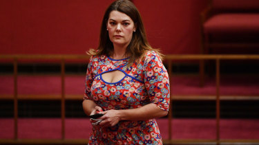 Greens Senator Sarah Hanson-Young on Tuesday, wearing a dress of curious interest to a spectator in the Spectator.