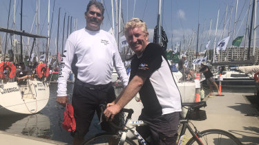 In the name of charity, cyclist Andrew McKay is racing Murray Owen's 46ft yacht.