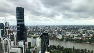 Dark, ominous rain clouds over Brisbane City on Thursday.