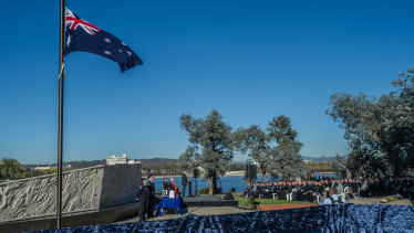 Hundreds of people gather to honour fire and emergency services personnel who died in the line of duty, at a memorial service in Canberra on Tuesday.