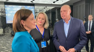Deb Frecklington with federal minister Peter Dutton following her election concession speech.