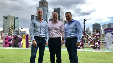 Darren Locker, lord mayor Adrian Schrinner and restaurateur John Gambaro back south-east Queensland's bid to host the 2032 Olympic Games.