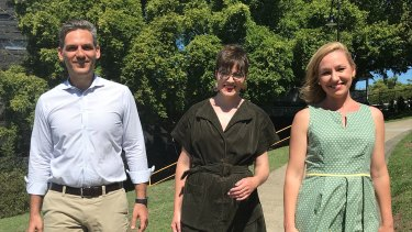 Queensland Greens senator Larissa Waters with Greens MP for Maiwar Michael Berkman, new South Brisbane MP Amy MacMahon on Sunday.