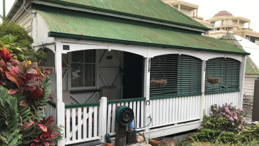 One of the three timber homes on Kangaroo Point's Lambert Street which will be shifted elsewhere if the development approval gets the go ahead.
