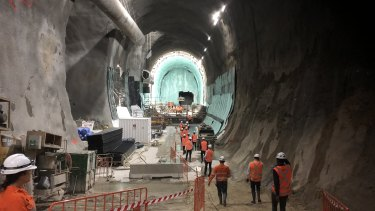 One of the giant station caverns for the multibillion-dollar metro line under construction beneath central Sydney.