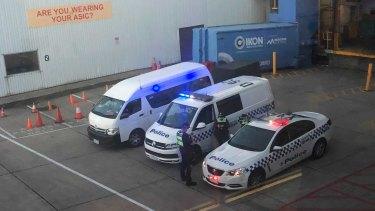Police cars wait on the tarmac for Malka Leifer's plane..
