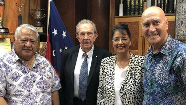 Samoa PM Tuilaepa Sailele Malielegaoi, World Nines Samoa chairman Paul Broughton, WNS CEO Beverley Broughton and WNS director Tuatagaloa Joe Annandale.