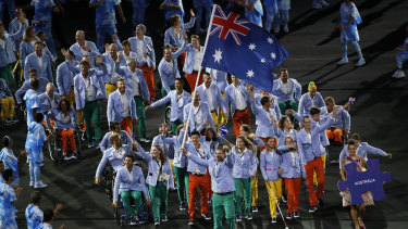 Australian athletes at the opening ceremony of the Rio 2016 Paralympic games.