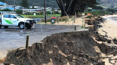 Damage at the Tuxion Road car park in Apollo Bay in June 2018.