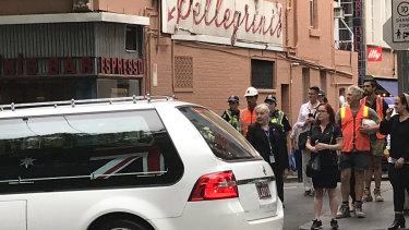 After the funeral a hearse drove Sisto Malaspina's coffin past Pellegrini's.