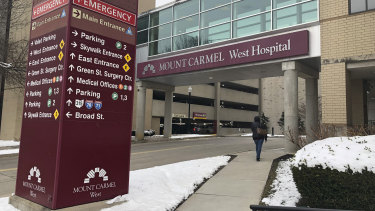Main entrance to Mount Carmel West Hospital in Columbus, Ohio.