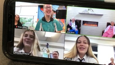 Bray Park State High School students during their video conference with Anam Cara residents earlier this week.