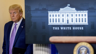 US President Donald Trump arrives for a briefing in the James Brady Press Briefing Room of the White House.