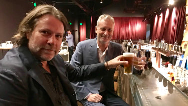 John Collins and Scott Hutchinson toast to Friday's night at the Fortitude.