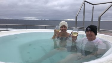 "Bob Lamond and his daughter Sarah on their Antarctica cruise: ""At night  we'd hop into the spa on the deck. It was bloody freezing, minus one degree."""