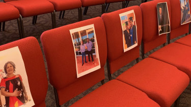 Photos attached to the seats to remind Pastor Matthias Prenzler he is preaching to a real audience during COVID-19 restrictions.