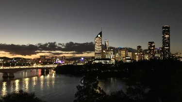 The city skyline seen from the home on the Kangaroo Point cliffs.