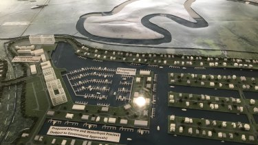 A model of the proposed marina and canal estate on display in the sales office at North Harbour.