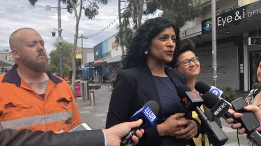 Victorian Greens leader Samantha Ratnam flanked by the party's Footscray candidate Angus McAlpine and upper house MP Huong Truong