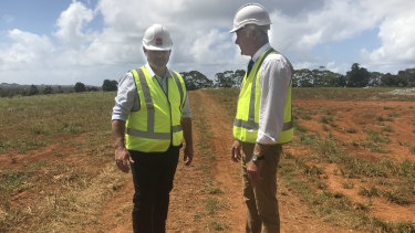 Deputy Premier John Barilaro and MP Geoff Provest at the proposed Tweed hospital site.