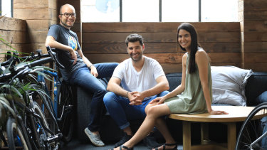 Canva co-founders  Cameron Adams, Cliff Obrecht and Melanie Perkins.