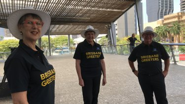 Brisbane Greeters will return to the streets with a new blue-and-gold uniform.
