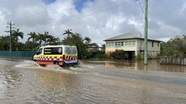 Flood water at the Tweed River at Chinderah. Northern NSW.