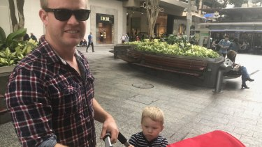 Luke Thomas supports the idea of a playground in the Queen Street Mall, and his son Harry didn't disagree.