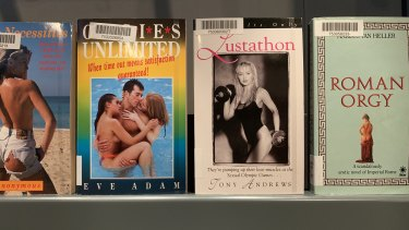 Some of the pulp erotica books on display at the Bodleian Library.